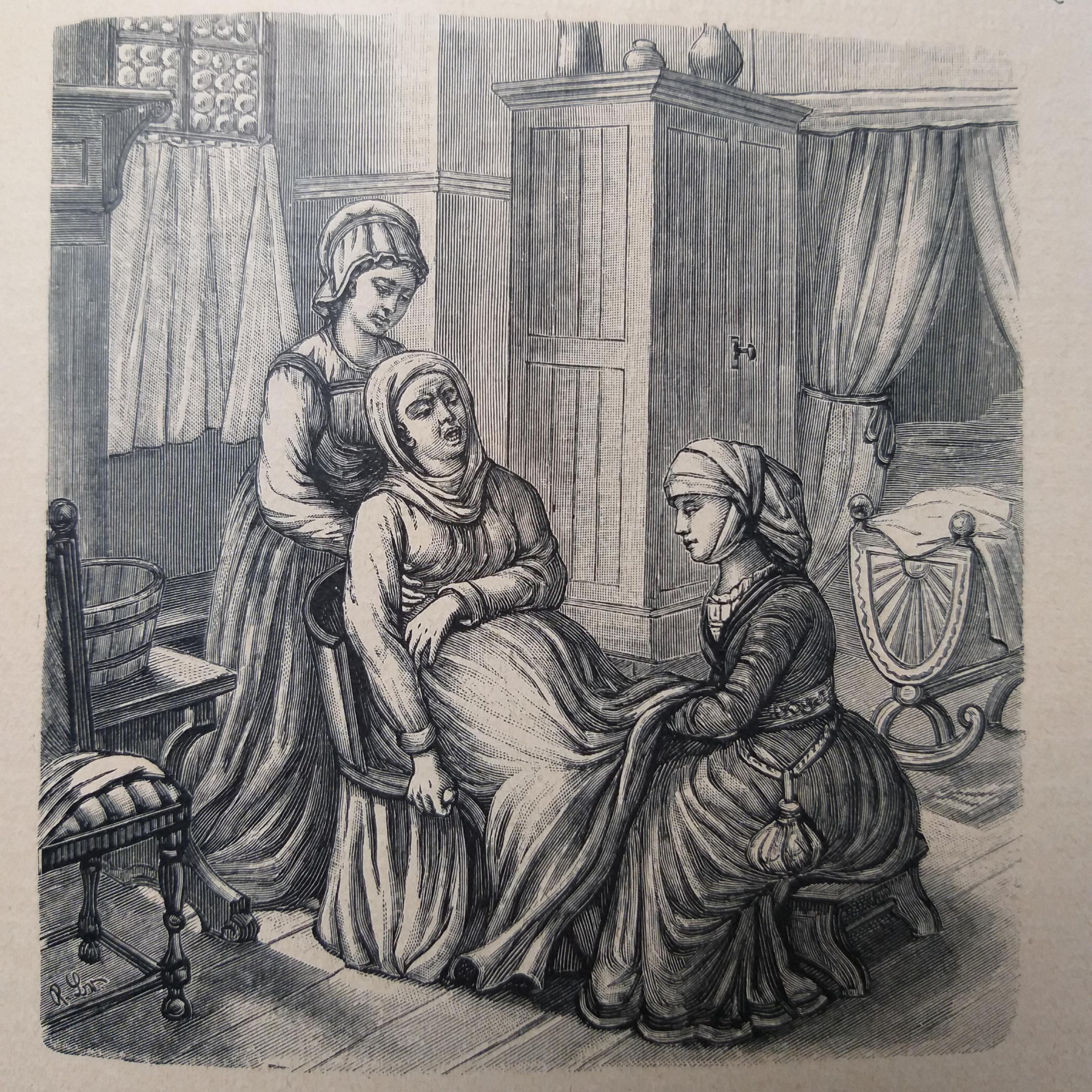 Niederkunft auf dem Geburtsstuhl 1528 mit Doula